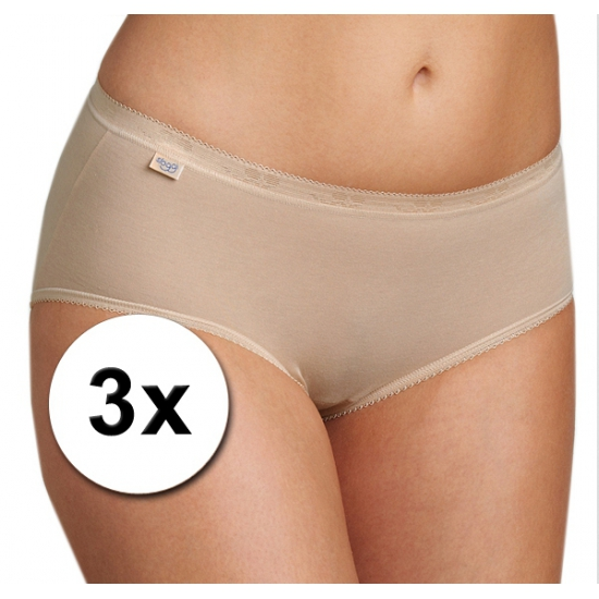 3x sloggi damesondergoed slip basic huidskleur