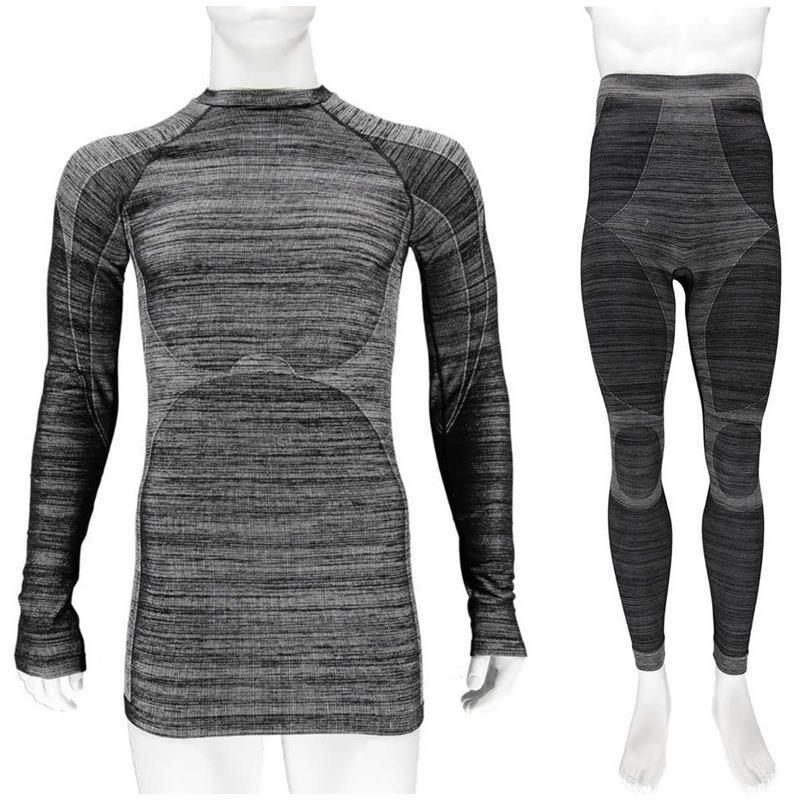 Zwarte melange thermo kleding set shirt lange mouw en broek ondergoed voor heren maat xl