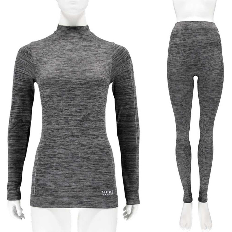Zwarte melange thermo kleding set shirt lange mouw en broek ondergoed voor dames maat s