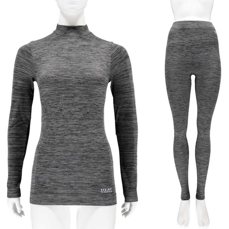 Zwarte melange thermo kleding set shirt lange mouw en broek ondergoed voor dames maat l