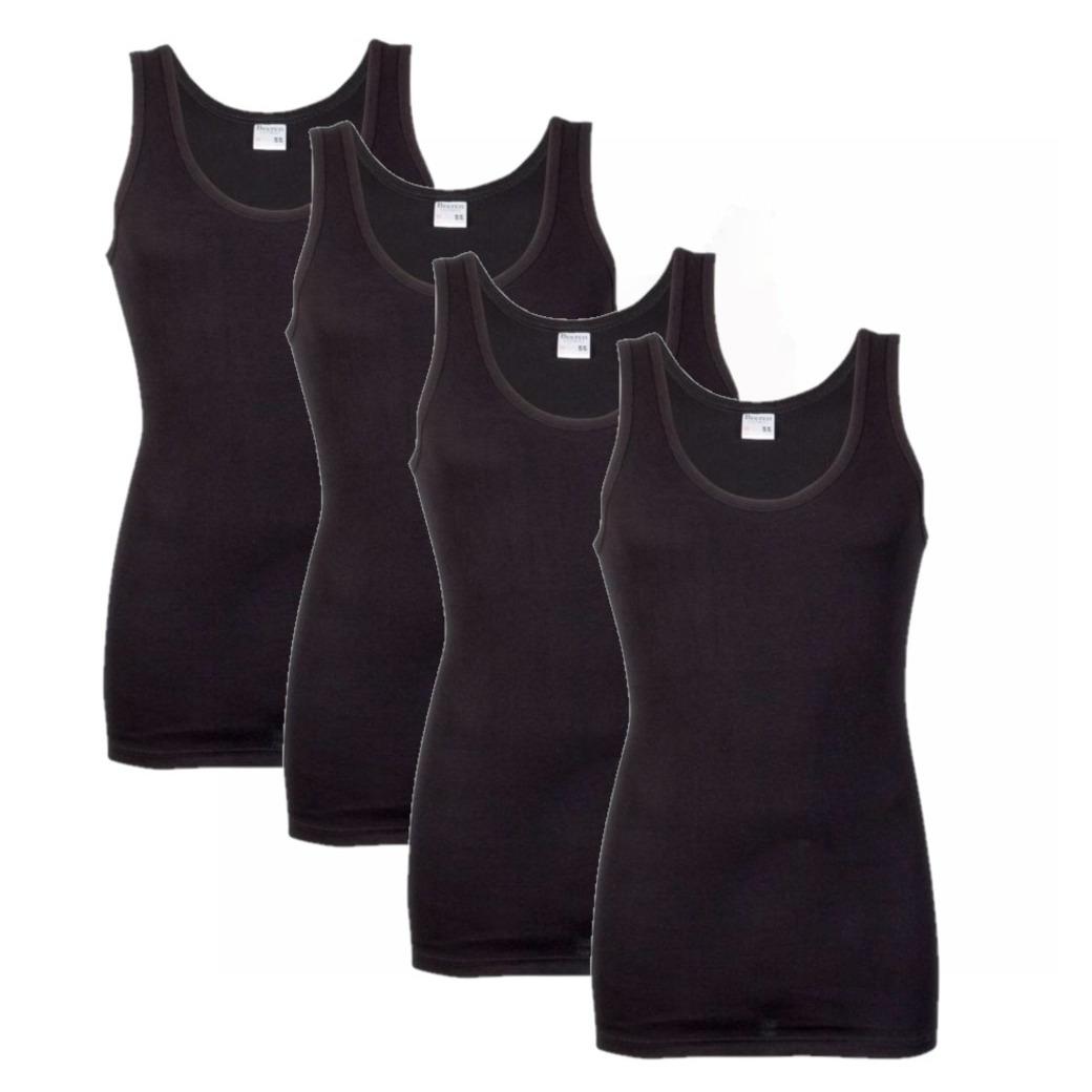 Set van 4x stuks grote maten ondergoed beeren heren hemd zwart, maat: 4xl
